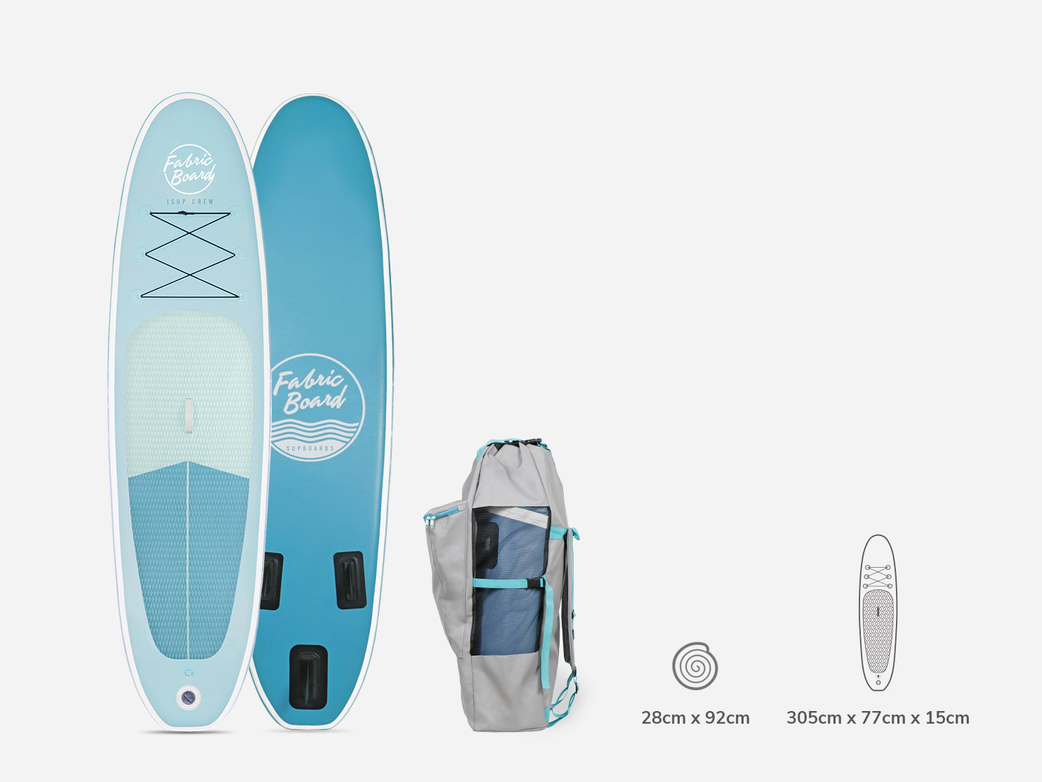Inflatable Paddle Surf iSUP 10 FabricBoard Blue with Rucksack and Measures